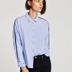 NWT $39  Zara Shirt Velvet detail Faux Pearls-  S